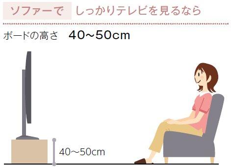 ソファーに座ってテレビを見る高さ